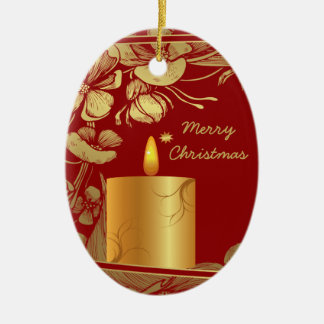 Golden flowers and candle Christmas ornament