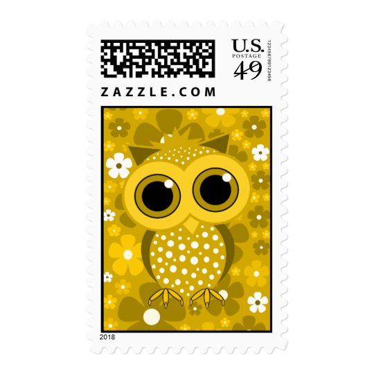 golden flowers and cute owl postage