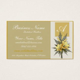 Golden Flowers Elegant Monogram Business Cards