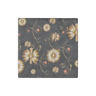 Golden flowers stone magnet