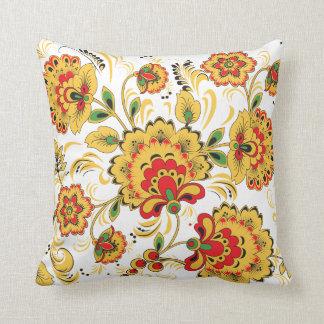 Golden Flowers Khokhloma Pillow