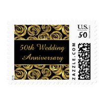 Golden flowers on black 50th Wedding Anniversary Postage