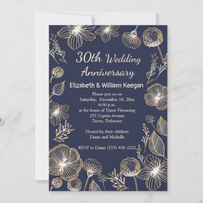 Golden flowers on blue 30th Wedding Anniversary Invitation