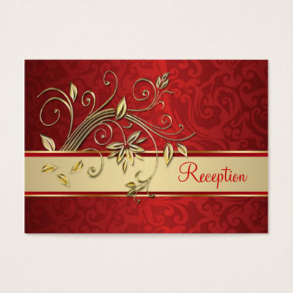 Golden flowers on red damask Reception Business Card