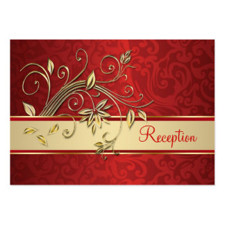Golden flowers on red damask Reception Large Business Card