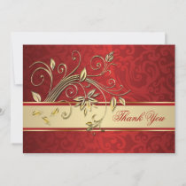 Golden flowers on red damask Thank You
