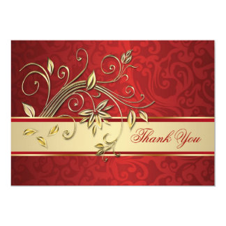 Golden flowers on red damask Thank You Card