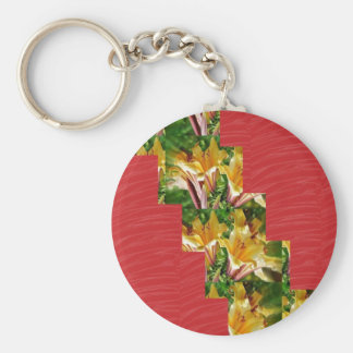 Golden Flowers  Red Silky Fabric Look ART lowprice Keychain