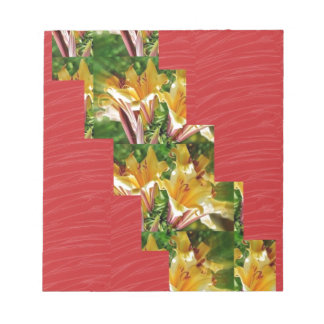 Golden Flowers Red Silky Fabric Look ART lowprice Scratch Pad