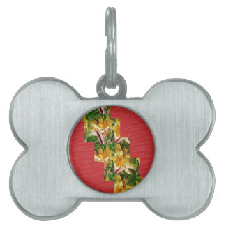 Golden Flowers  Red Silky Fabric Look ART lowprice Pet ID Tag