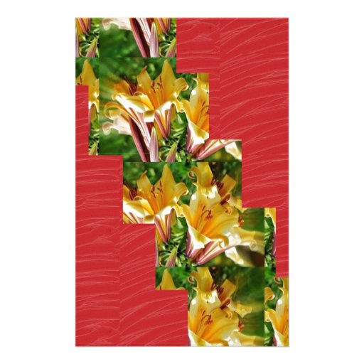 Golden Flowers  Red Silky Fabric Look ART lowprice Stationery Design