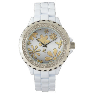 Golden Flowers Rhinestone White Enamel Watch