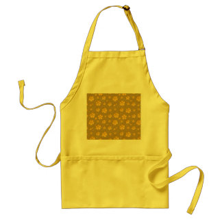 Golden flowers seamless pattern apron