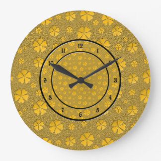 Golden flowers seamless pattern large clock
