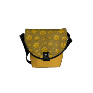Golden flowers seamless pattern messenger bag