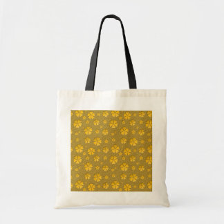 Golden flowers seamless pattern tote bag