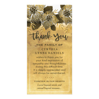 Golden Flowers Thank You Sympathy Card