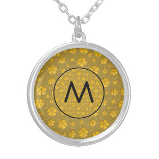 Golden flowers with monogram personalized necklace