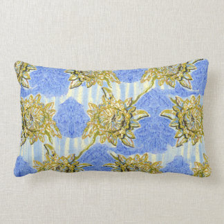 Golden Flowers with Stripes by Alexandra Cook Pillow