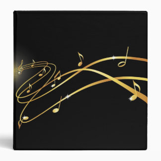 Golden flowing staff lines and notes music binder