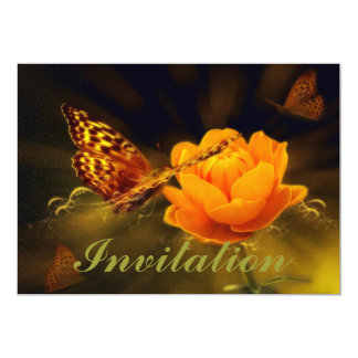 Golden Flying Butterfly 5x7 Paper Invitation Card