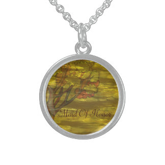 Golden Foil Autumn Tree Wedding Sterling Silver Necklace