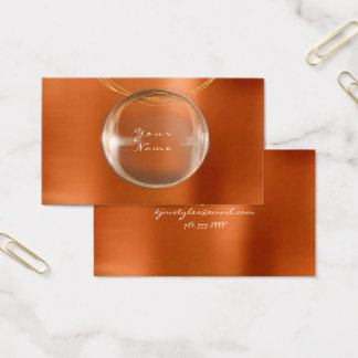 Golden Foil Ball Glass Coral Red Metallic Business Card