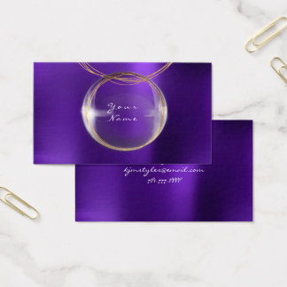 Golden Foil Ball Glass Purple Plum Metallic Business Card