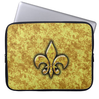Golden Foil Fleur De Lis Laptop Sleeve