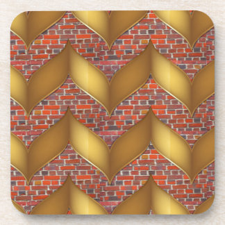 Golden Foil on Colorful Brick wall 100 pods gifts Beverage Coaster