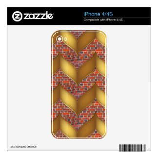 Golden Foil on Colorful Brick wall 100 pods gifts iPhone 4S Skins