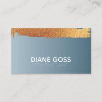 Golden Foil Striped Modern Stylish Navy Blue Business Card