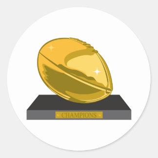 golden football champions classic round sticker