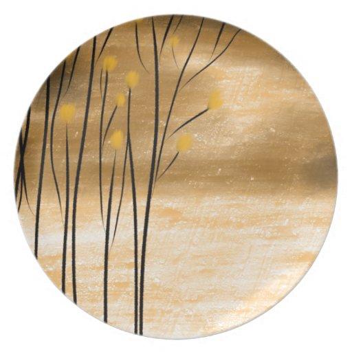 Golden forest dinner plates