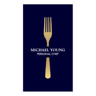 GOLDEN FORK on Navy Chef, Catering, Restaurant Business Card