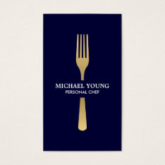 Golden Fork On Navy Chef, Catering, Restaurant Business Card at Zazzle