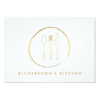GOLDEN FORK SPOON KNIFE SKETCH LOGO for Catering 4.5x6.25 Paper Invitation Card