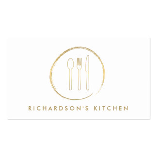 GOLDEN FORK SPOON KNIFE SKETCH LOGO for Catering Business Card