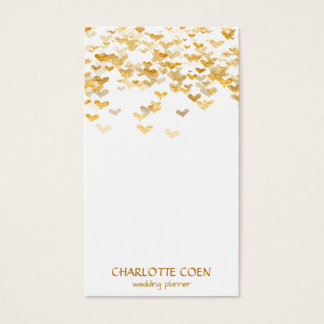 Golden Foul Hearts Confetti White Glam  Glam Business Card