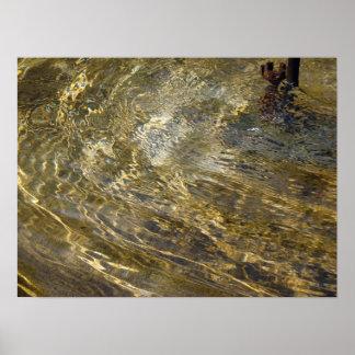 Golden Fountain Water Poster