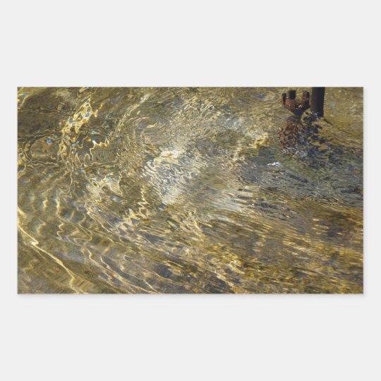 Golden Fountain Water Rectangular Sticker