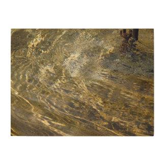 Golden Fountain Water Wood Wall Art