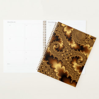 Golden fractal «abstract leaves» planner