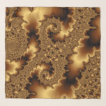 """Golden fractal &#171;abstract leaves&#187; scarf<br><div class=""""desc"""">Computer generated fractal with&nbsp;&#171;golden&#187; silk effect. It looks like beautiful abstract leaves.</div>"""