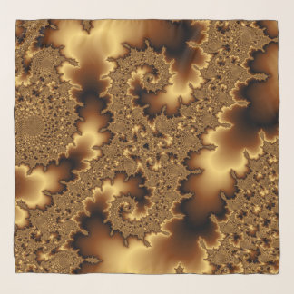 Golden fractal «abstract leaves» scarf