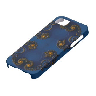 Golden fractal decoration on blue iPhone 5 covers