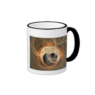 Golden Fractal Heart with Love Mug
