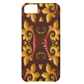 Golden Fractal Leaves on Brown Background iPhone 5C Cover