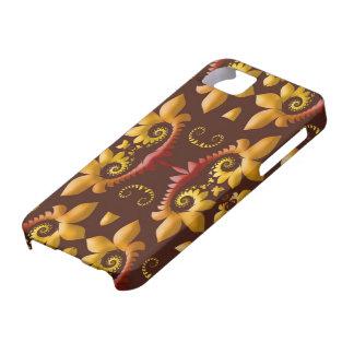 Golden Fractal Leaves on Brown Background iPhone SE/5/5s Case