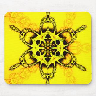 Golden Fractal Snowflake Mouse Pad